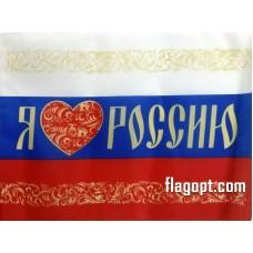 Флаг Я люблю Россию 16х24
