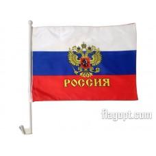 Флаг Россия Герб с креплением на машину 30х45