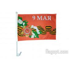 Флаг 9 мая Цветы с креплением на машину 30х45