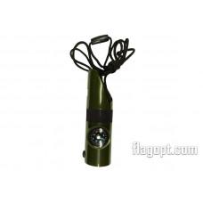 Свисток Компас-фонарь-градусник с шнуром, пластик, 9см