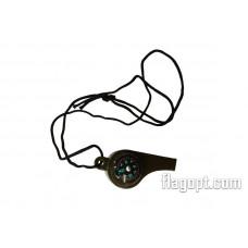 Свисток Компас-градусник с шнуром, пластик
