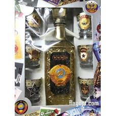 Набор подарочный Герб СССР с позолотой, Графин с стопками