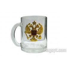 Кружка с значком, Герб РФ, 350мл.