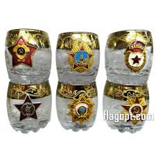 Набор стопок со значком, под золото, Ордена СССР, 50мл